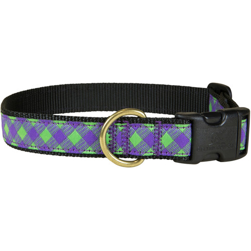 "Green & Violet Buffalo Plaid 1"" Dog Collar"