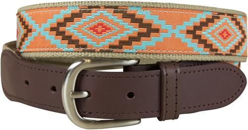 Burnt Orange Southwest Leather Tab Belt