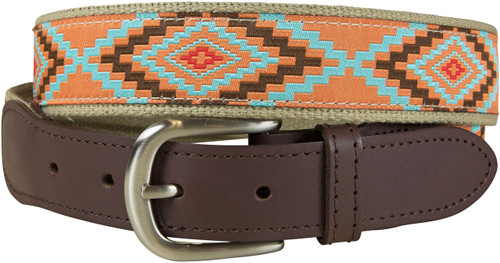 Burnt Orange Southwest Leather Tab Belt