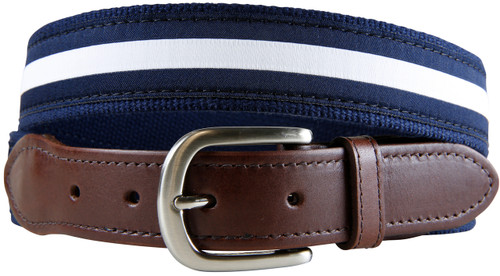White & Navy Classic Stripe Leather Tab Belt