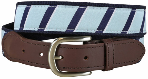 Traditional Repp Stripe Leather Tab Belt | Light Blue