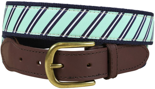 Traditional Repp Stripe Leather Tab Belt | Seafoam