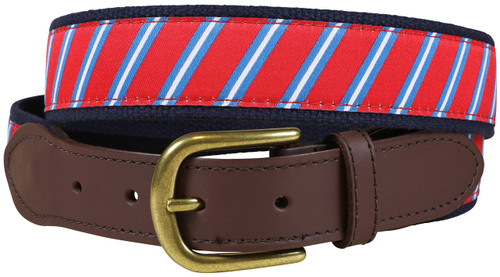 Red Traditional Repp Stripe Leather Tab Belt