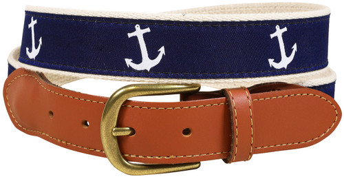 Classic Anchor Leather Tab Belt - Navy
