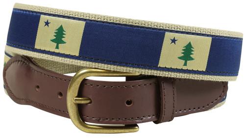 Maine State Flag Leather Tab Belt