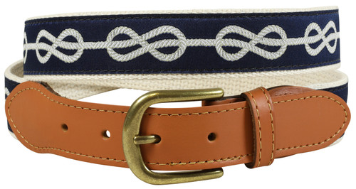Classic Knot Leather Tab Belt - Navy