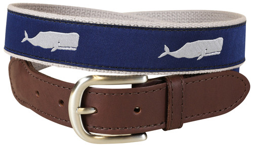 Grey Moby Whale Leather Tab Belt