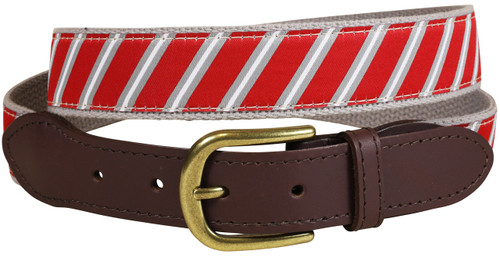 Traditional Repp Stripe Leather Tab Belt | Crimson