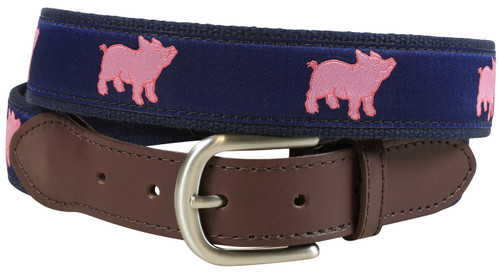 Preppy Pig Leather Tab Belt