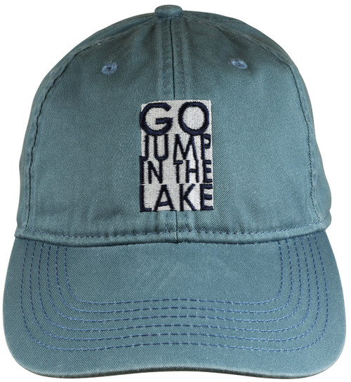 Go Jump In The Lake Hat on Blue Slate