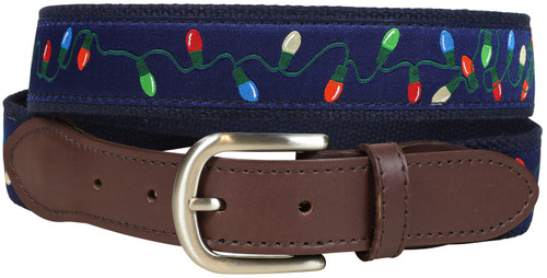 Tangled Christmas Lights Leather Tab Belt