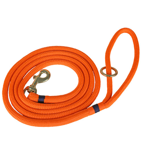Maine Dock Line Dog Lead in Orange with Navy Trim