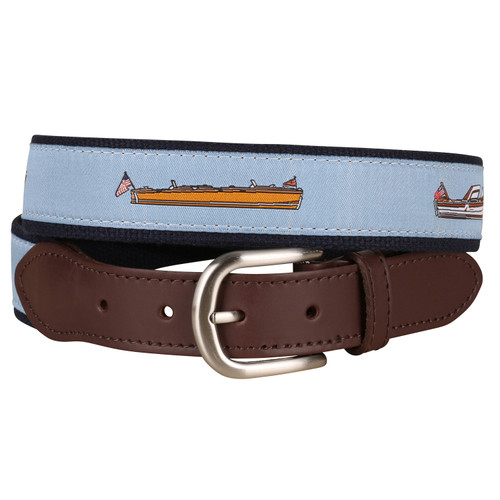 Classic Lake Boats Leather Tab Belt