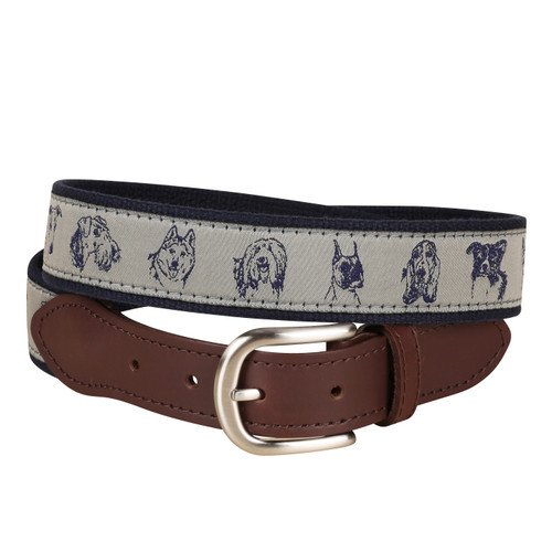 Dog Faces Leather Tab Belt