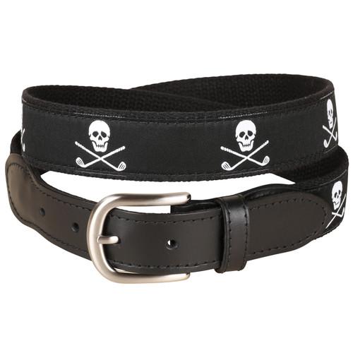 Skulls & Clubs Leather Tab Belt