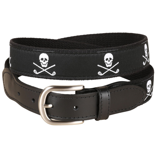 Skulls & Clubs Leather Tab Belt