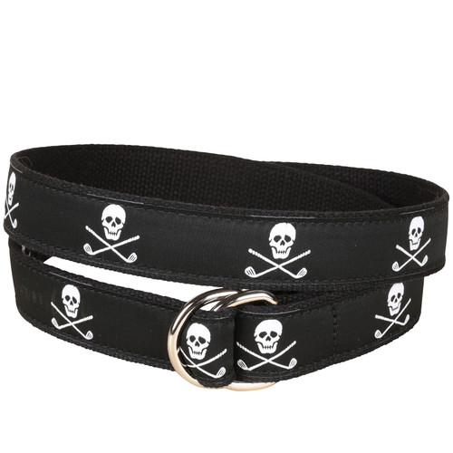 Skulls & Clubs D-Ring Belt