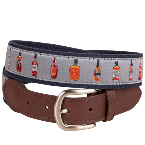 bourbon whiskey leather tab belt