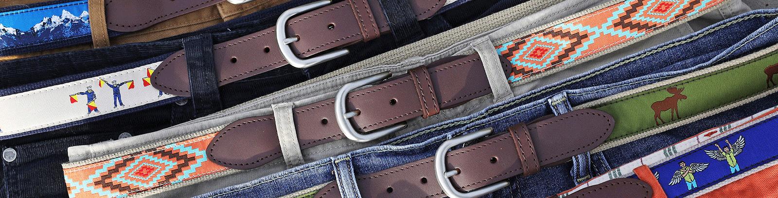 Signature Ribbon Leather Tab Belts
