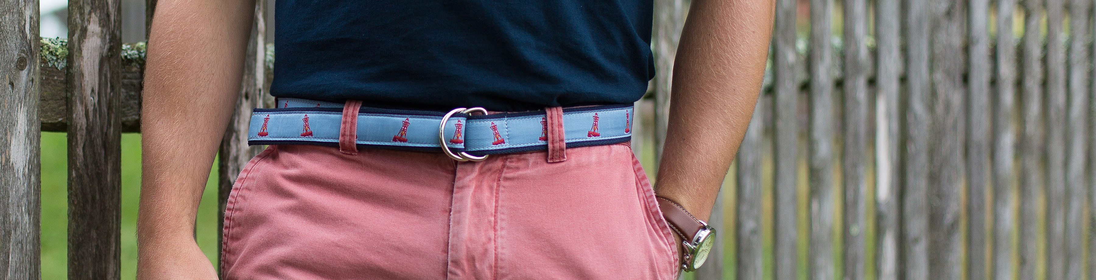 Belt showcased on red shorts
