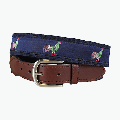 Ribbon Belt with Rooster in high top shoes