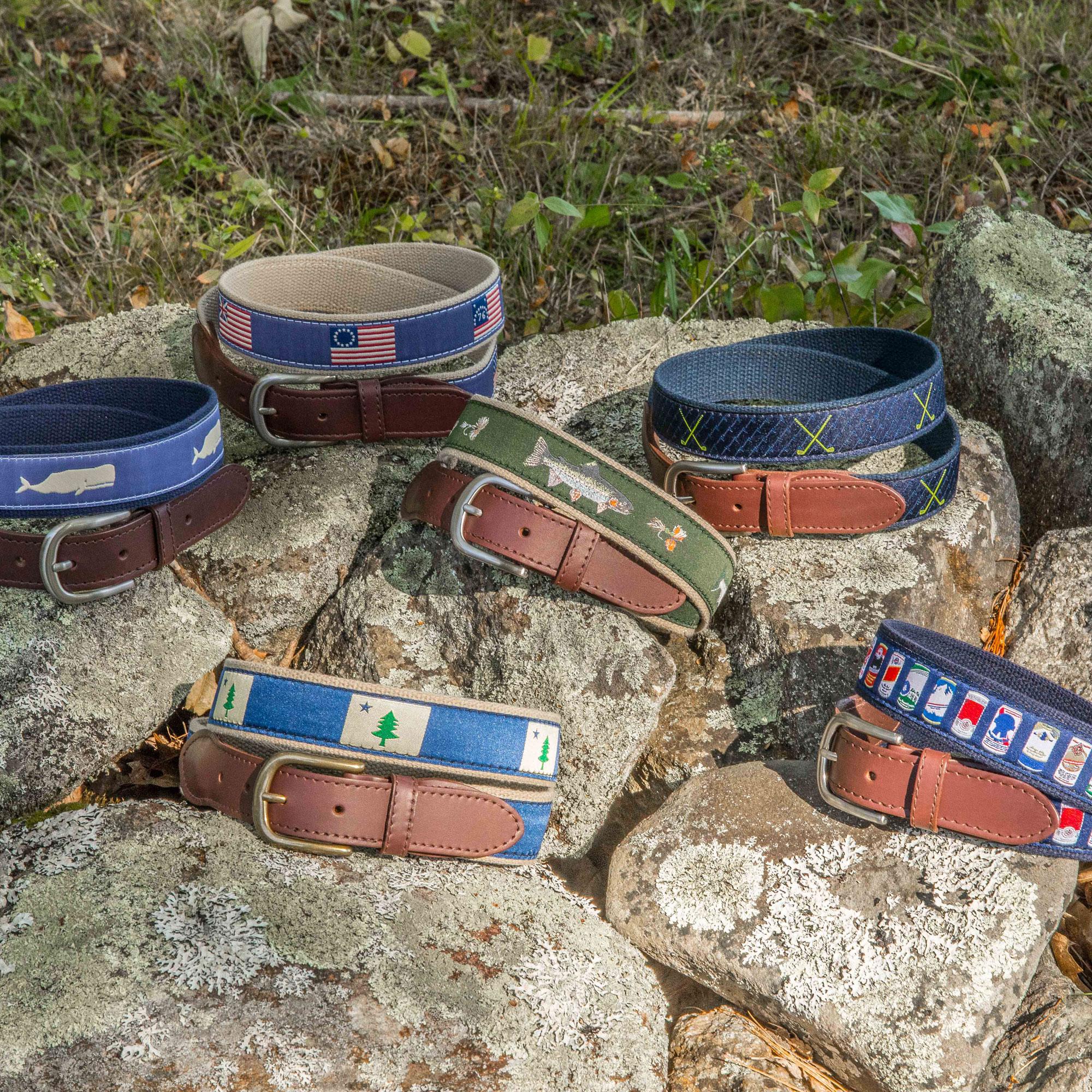 Signature Ribbon Belts on Rocks
