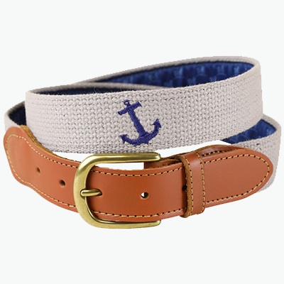 Embroidered Belt with Anchor