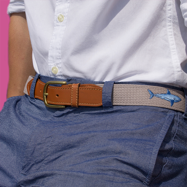Embroidered belt on model