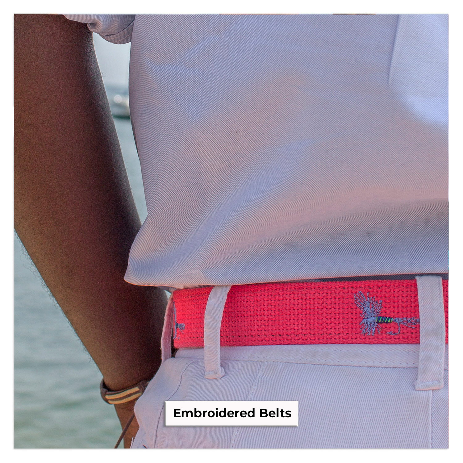 Fly Embroidered Belt Pink Shorts