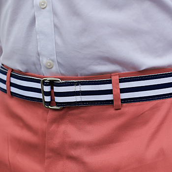 Grosgrain belt navy and white