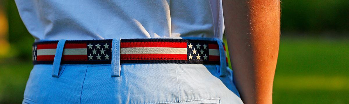 Ribbon D ring retro flag