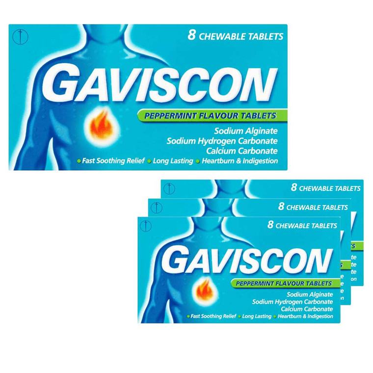 4 x 8 pack Gaviscon peppermint flavour chewable tablets