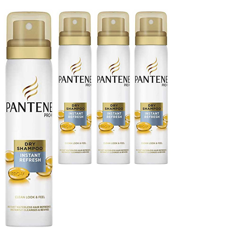 4 x 65ml Pantene Instant refresh for normal hair dry shampoo spray
