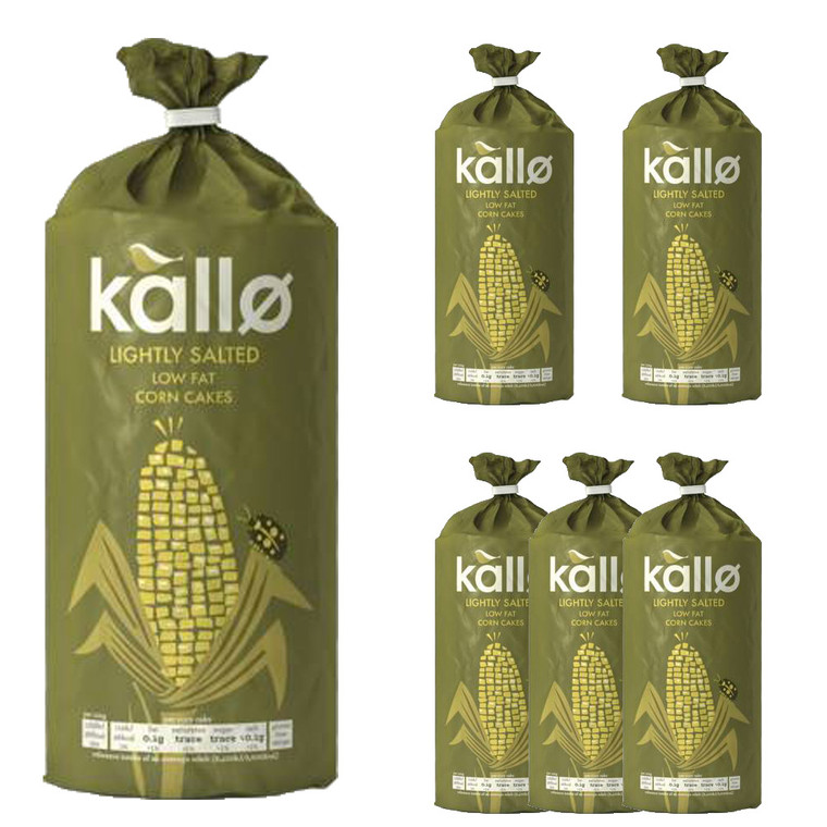 6 x 130g  Kallo Lightly Salted Wholegrain Low Fat Corn Cakes Snack Nibble Food
