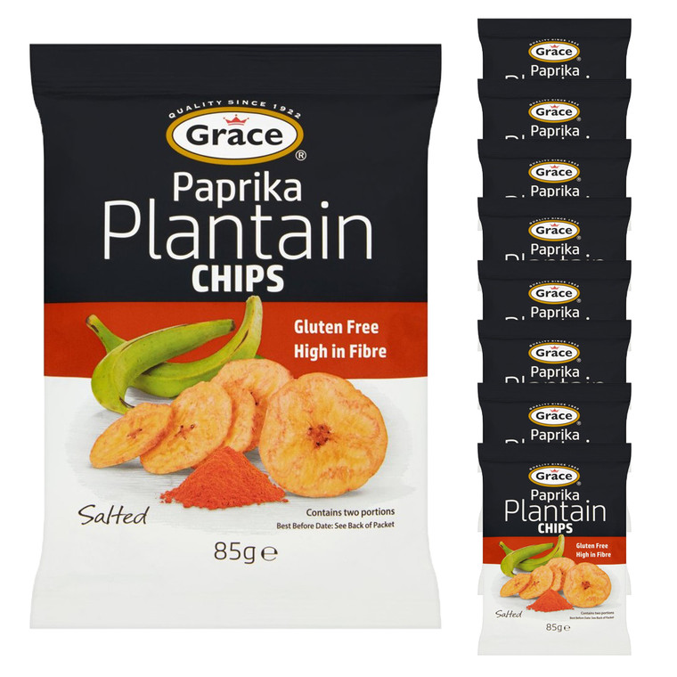 9 x 85g Grace Paprika Plantain Salted Chips Natural Banana Crisps Snack Gluten FREE