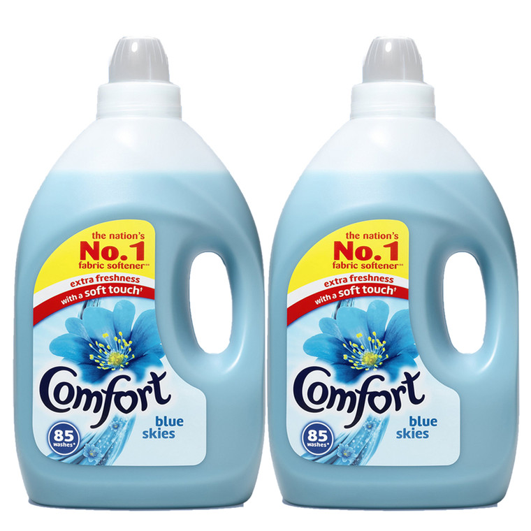 2 x 3 litre Comfort Blue Skies Fabric Conditioner Laundry Softener 85 washes Fresh Clothes