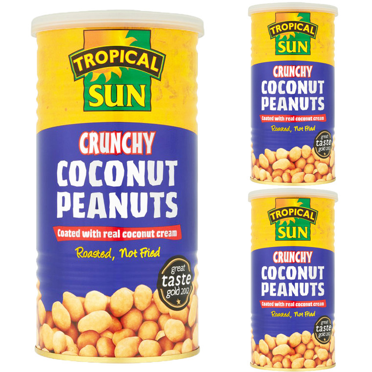 3 x 330g Tropical Sun Crunchy Coconut Coated Roasted Peanuts Snack Nut Nibble Food