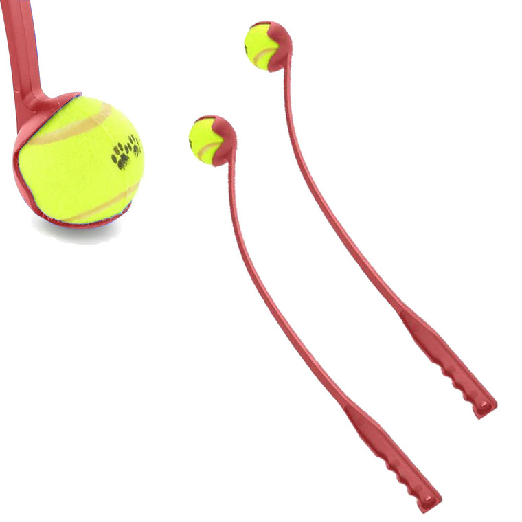 2 x Red Launch It Set Dog Fetch Tennis Ball Outdoor Activity Play Long Distance Launcher Exercise