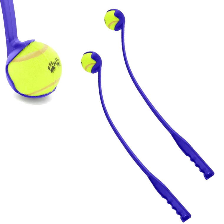 2 x Blue Launch It Set Dog Fetch Tennis Ball Outdoor Activity Play Long Distance Launcher Exercise