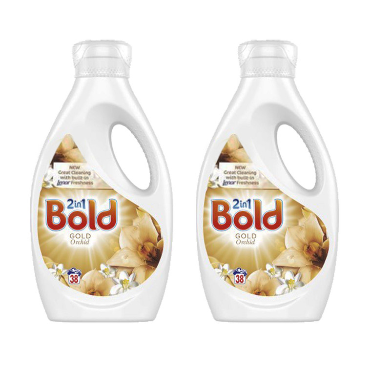 2 x 1.33ltr Bold 2in1 Laudry Liquid Biological Washing Gel Gold Orchid 38 washes
