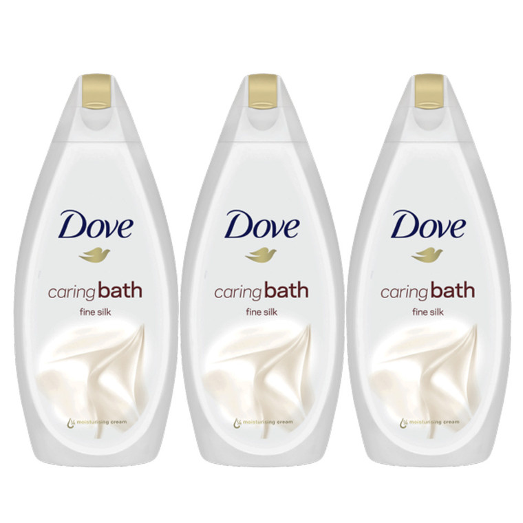 3 x 450ml Dove Fine Silk Skin Moisturising Nourishing Bath Tub Cream Bubbles