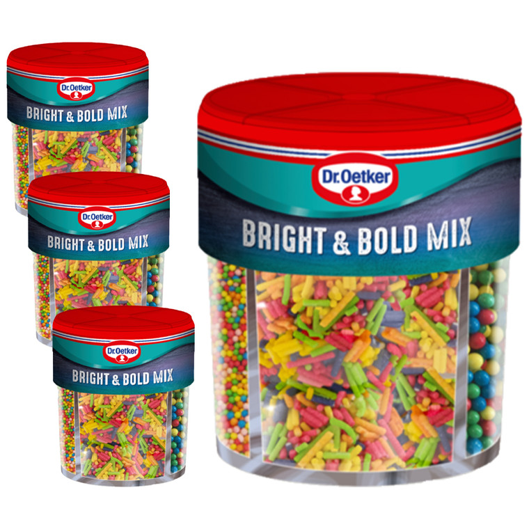Dr Oetker Bright and Bold Baking Cake Sprinkles Desert Icing Cooking 4 pack x 1