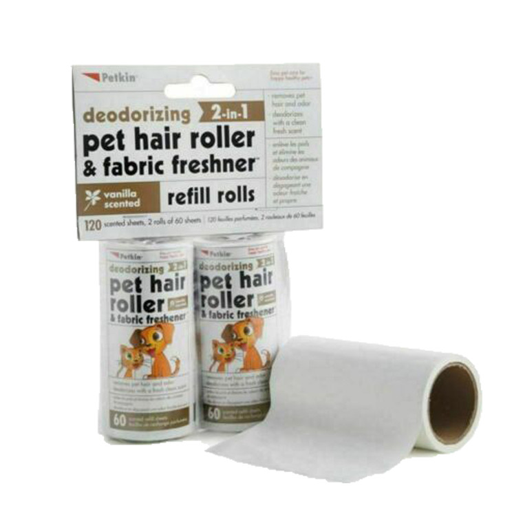 2 x 120 sheets Pet Cat Dog Rabbit Hair Roller Refill Vanilla Fabric Freshner