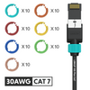 Cat 7 30AWG Cable Identifier Coloured Rings - 7 Assorted Colours 10 pcs Each (70 Pack)