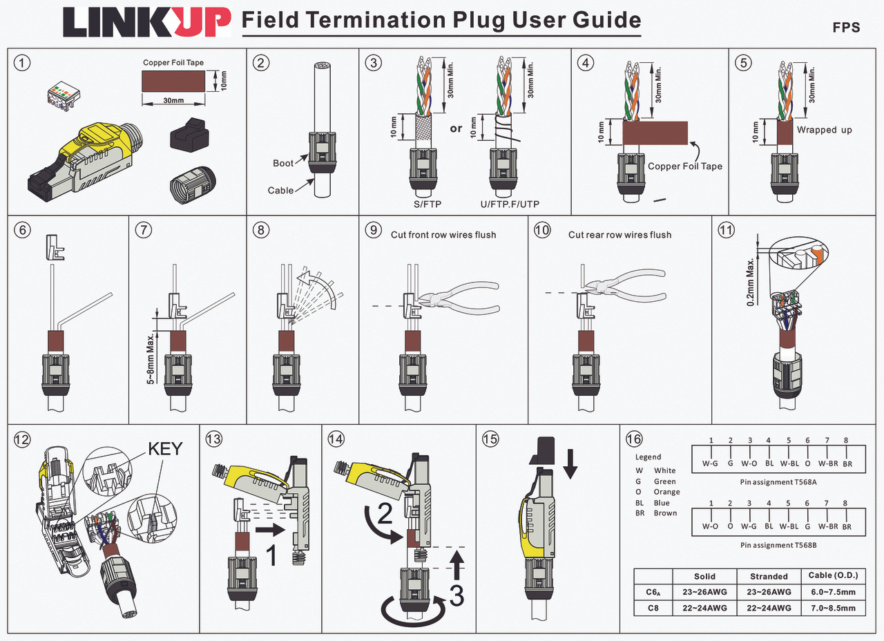 [LINKUP] RJ45 Connectors Cat6A (6 Pack) Shielded Metal -Cast Field on cat 5 termination diagram, cat 2 wiring diagram, cat 6a cabinet, cat 6 jack diagram, cat 6 wiring diagram, cat 6e wiring diagram, cat 6 connectors diagram, cat 4 wiring diagram, cat 6a cable, cat 3 wiring diagram, cat 6 termination diagram, cat 5e wiring diagram, cat 5 wiring diagram, cat 7 wiring diagram, category 6 ethernet cable diagram, cat 5b wiring diagram, cat 6a standards, cat 6 cable diagram, cat 6 pin diagram, cat 5 wiring for female,