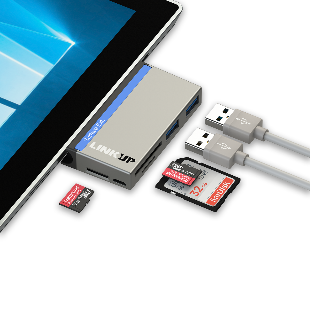 LINKUP 6-in-1 USB 3 0 Surface Pro Hub Adapter (5GB/s), Memory Card Reader  SD/Micro SD - 2 USB-A 3 0 Compatible with Microsoft Surface Pro 3 (12 3