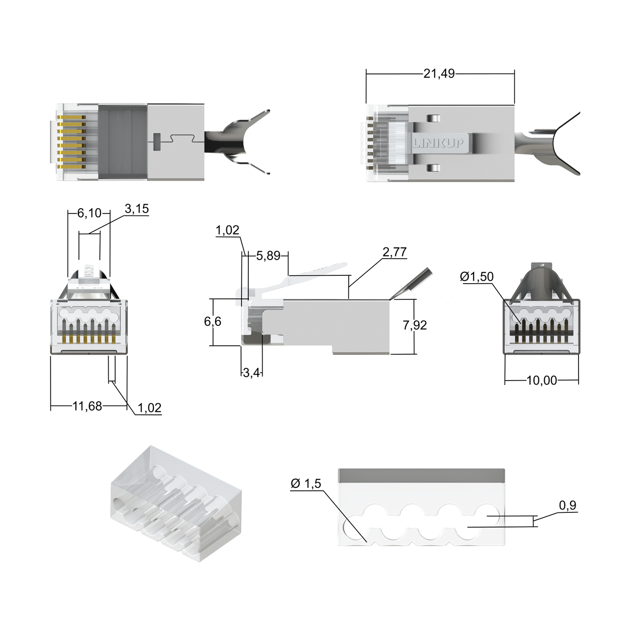 [linkup] rj45 connectors cat6a ethernet shielded modular plugs | for large  diameter wires (22awg) termination
