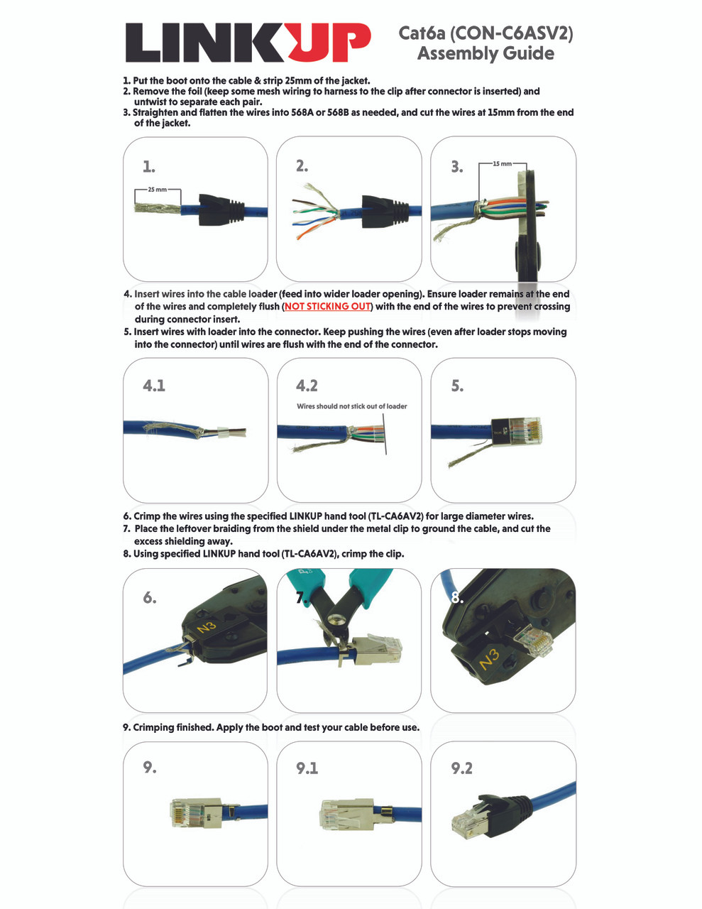 [linkup] rj45 connectors cat6a ethernet shielded modular plugs for large diameter wires (22awg) termination 10g stp gold plated [100 pack] cat 6 wiring color code cat6 connector work on a cat5e cable