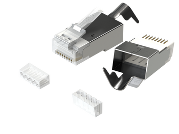 RJ45 Connectors Cat6A Ethernet Shielded Modular Plugs | for Large Diameter Wires (22AWG) Termination | 10G STP Gold-Plated [50-Pack]