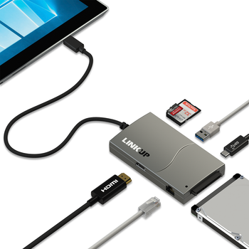 LINKUP 7-in-1 Hub - 4K HDMI, Gigabit Ethernet LAN, USB-C 3.1, USB-A 3.0, SD, Micro SD (TF), SATA Hard Drive Adapter Port Extension - Compatible with Surface GO Macbook